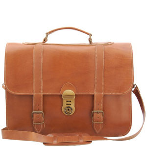 Grafea Railway Vintage Style Leather Briefcase - Caramel