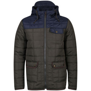 Brave Soul Men's Swansea Padded Jacket - Khaki/Navy