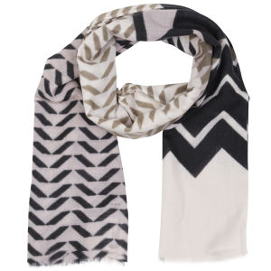 French Connection Zig Zag Print Scarf - White/Black