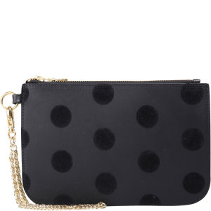 Kate Sheridan Leather Flock Print 'Made In England' Leather Clutch Bag - Black