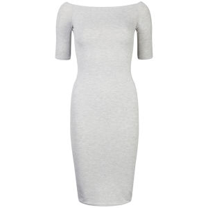 Club L Women's Off Shoulder Bardot Midi Dress - Grey Marl