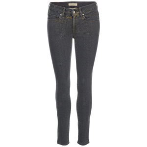 Levi's Made & Crafted Women's Empire Cropped Mid Rise Skinny Jeans – Black/Gold Dots