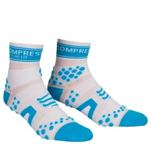 Compressport Pro Racing Socks - Run (HighCut) - White/Blue