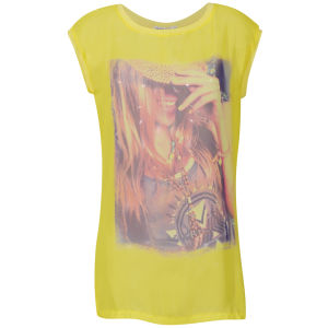 Brave Soul Women's Summer Over Size T-Shirt - Yellow