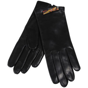 Paul Smith Accessories Women's Swirl Bow Leather Gloves - Black