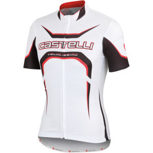 Castelli Velocissimo Full Zip Tour Jersey - White/Black/Red