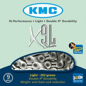 KMC X9 Light Chain - 116 Links - Silver
