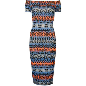 Influence Women's Aztec Bardot Midi Jersey Dress - Blue