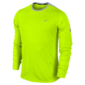Nike Men's Racer Long Sleeve Running Top - Volt Green