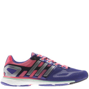 adidas Women's Adizero Adios Boost Running Shoe Blast Purple/Tech Silver Met/Red Zest