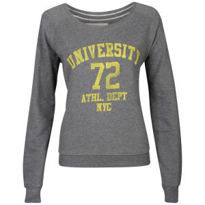 Brave Soul Women's University Print Sweatshirt - Charcoal Marl