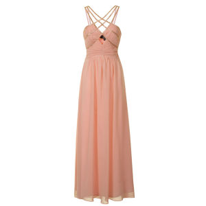 Little Mistress Women's Embellished Strappy Maxi Prom Dress - Peach