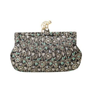 Wilbur & Gussie Margot Clutch - Green Embroidery/Gold Monkey
