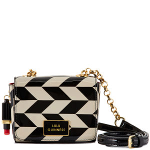 Lulu Guinness Women's Small Verity Chevron Print Patent Leather Mini Cross Body Bag - Black/Stone