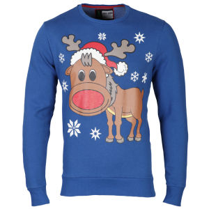 Christmas Branding Rudolf Crew Neck Sweat - True Blue