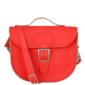 Brit-Stitch Leather Half Pint Shoulder Bag - Poppy Red (Strap On Side)