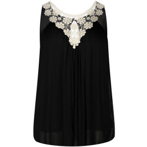 Club L Women's Crochet Flower Chiffon Top - Black