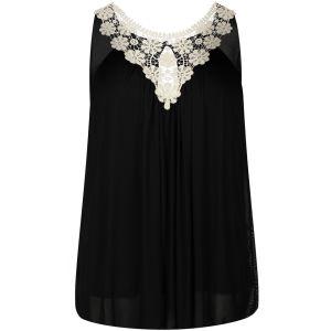 Club L Women's Crochet Flower Chiffon Top - Black