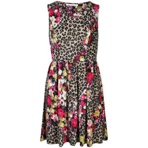Brave Soul Women's Leopard and Floral Skater Dress - Cerise Pink