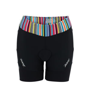 Zoot Women's Performance Triathlon 6 Inch Shorts - Black/Spectrum Stripe