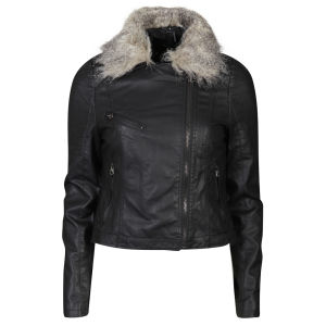 Brave Soul Women's PU Biker Jacket with Fur Collar - Black