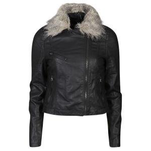 Brave Soul Women's PU Biker Jacket with Fur Collar - Black