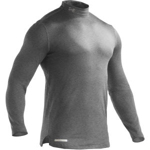 Under Armour Men's Evo Coldgear Fitted Mock Compression Long Sleeve Top - True Grey/Heather/Metal