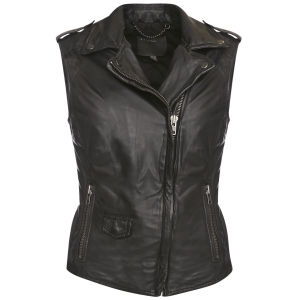 Muubaa Women's Lynn Sleeveless Biker Jacket - Black