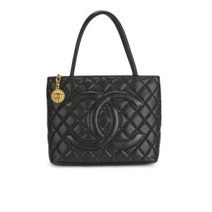 Chanel Women's Medallion Black Caviar Quilted Leather Hand Bag - Black