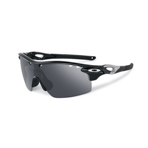 Oakley Men's Radar Lock Xl Matte Iridium Polarized Vented and Clear Vented Straight Stem Sunglasses - Black Ink