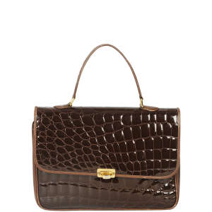 Emilio Pucci Vintage Patent Croc Effect Leather Satchel Bag
