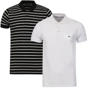 Brave Soul Men's Titanic-2 Pack Polo Shirts - White/Black Stripe & White