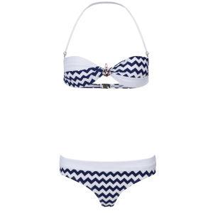 South Beach Women's Daphne Anchor Brooch Bikini - White