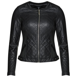 Brave Soul Women's PU Quilted Collarless Jacket - Black