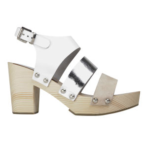 Sol Sana Women's Maurie Leather/Suede Clogs - White/Silver