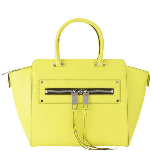 MILLY Riley Leather Tote Bag - Limeade
