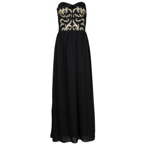 Little Mistress Women's  Embroidered Bandeau Chiffon Maxi Dress - Black Gold