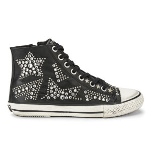 Ash Women's Vibration Star Studded Leather Trainers - Black