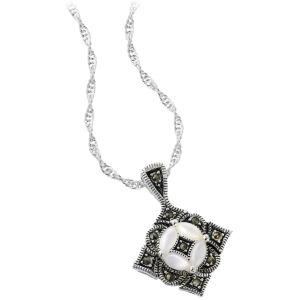 Silver Plated Marcasite Diamond Shape Pendant