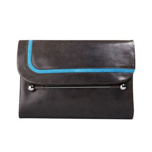 Rupert Sanderson Clio Large Leather Clutch - Grey Wash Calf/Diva Blue Trim