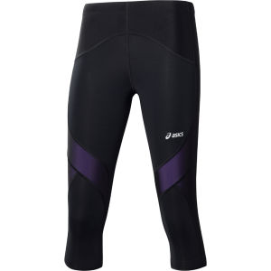 Asics Women's Leg Balance Performance Running Knee Tights - Black/Violet Purple