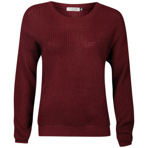 Moku Women's Fisherman Knit Jumper - Wine