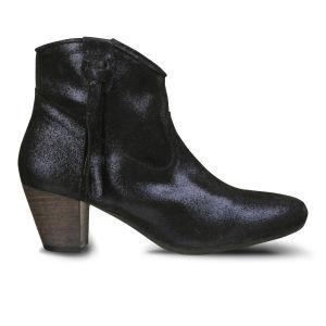 Lola Cruz Women's Metallic Leather Cowboy Boots - Blue