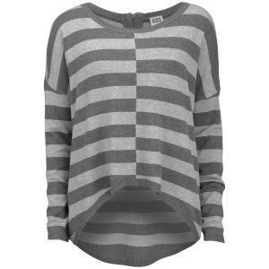 Vero Moda Women's Stripe Dip Hem Jumper - Grey Melange