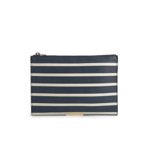 Sophie Hulme Large Zip Stripe Leather Pouch - Navy/Cream