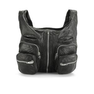 Alexander Wang Donna Shoulder Pocket Leather Slouch Bag - Black/Nickel