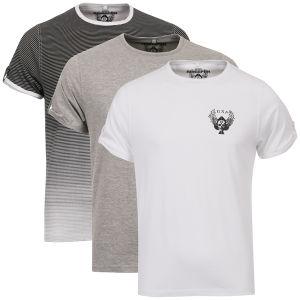 Ringspun Men's 3-Pack Leopard Short Sleeve Crew T-Shirt - Black/White Stripe/White/Grey Marl