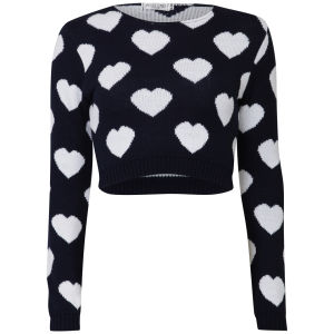 Women's Heart Crop Knit Jumper - Navy/White