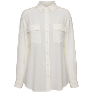 Equipment Women's Classic Double Pocket Oversized Blouse - White