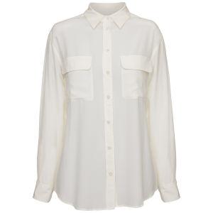 Equipment Women's Classic Double Pocket Oversized Blouse - White
